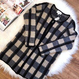 Anthropologie   Olive & Oak Plaid Sweater Coat